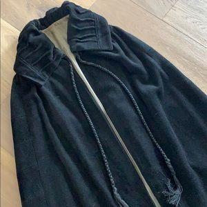 Original 1920's black wool chenille opera cape